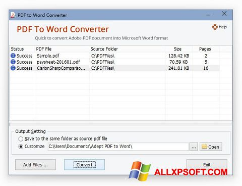 截图 PDF to Word Converter Windows XP