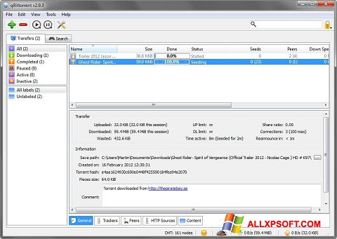 截图 qBittorrent Windows XP