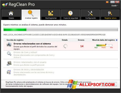 截图 RegClean Pro Windows XP
