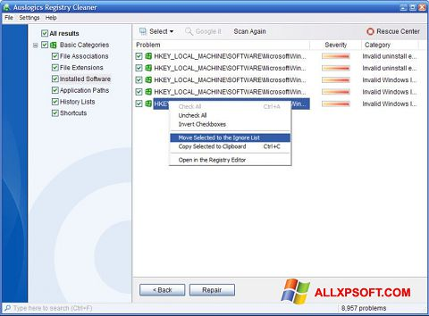 截图 Auslogics Registry Cleaner Windows XP