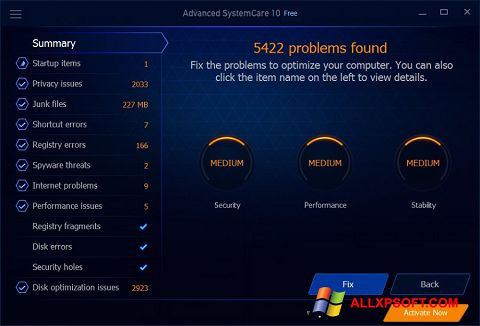 截图 Advanced SystemCare Free Windows XP