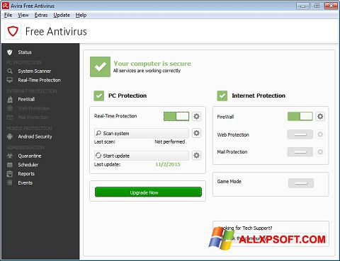 截图 Avira Free Antivirus Windows XP