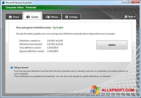 截图 Microsoft Security Essentials Windows XP